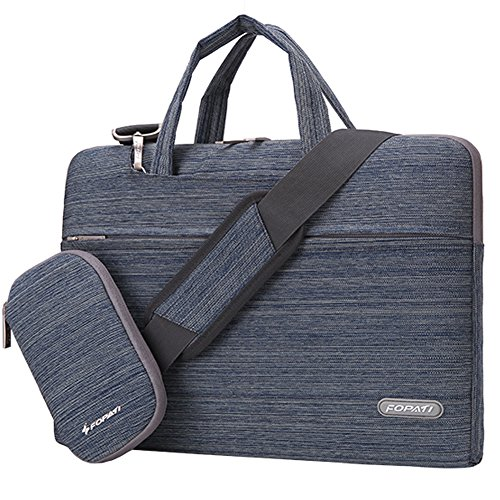 Handle Computer Briefcase (FOPATI 15 - 15.6 Inch Laptop Sleeve Bag Multi-functional Business Briefcase w/ Handle & Shoulder Strap/ Messenger Case for Macbook Pro/ Lenovo HP Acer ASUS Dell Inspiron 15 Chromebook - Suit Blue)