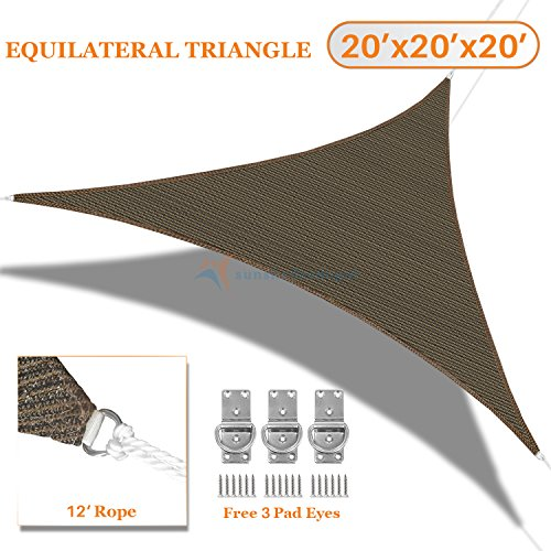 Sunshades Depot 20' x 20' x20' Sun Shade Sail Equilateral Triangle Permeable Canopy Brown Coffee Custom Size Available Commercial Standard
