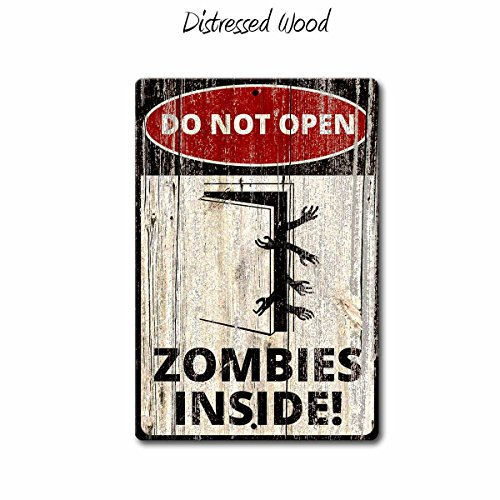 (Fhdang Decor Do Not Open Zombies Inside.Warning Sign,Funny Metal Signs,Zombie Sign,Halloween Signs,Metal)