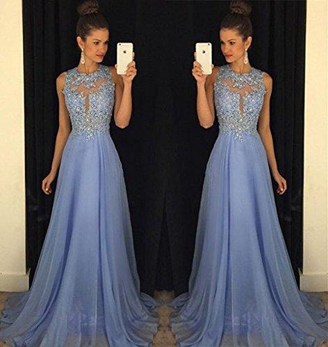 A Hals Hoher Lovelybride Linie Bördeln Abendkleider Blau Spitze Herrlich Ballkleid 5PTInx7