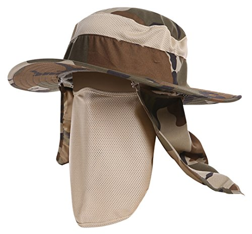 Camo Coll Outdoor Camouflage Boonie Mesh Sun Hats with Shield and Mask (Khaki Camo, One Size)