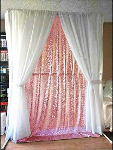 ShinyBeauty 5FtX7Ft-Pink-Sequin Backdrop,Sparkly Photography Backdrop,Shimmer Sequin Fabric Curtain For Wedding/Party/Event/Celebration (Pink And Gold Backdrop)