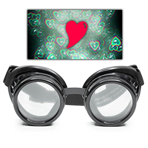 GloFX Black Heart Effect Diffraction Goggles - See Hearts! 3D Holographic Rave EDM Steampunk Costume -