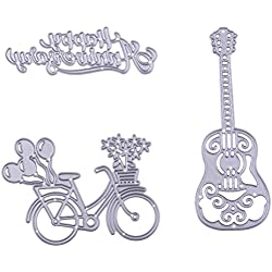 DINGJIN 3 Pcs Cutting Dies Stencils Metal Template Mould for DIY Scrapbook Album Paper Card (Lovely Bike,Guitar,Happy Anniversary)