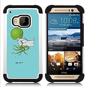 """Pulsar ( Verde Mano Crueldad Dolor triste azul claro"""" ) HTC One M9 /M9s / One Hima híbrida Heavy Duty Impact pesado deber de protección a los choques caso Carcasa de parachoques"""