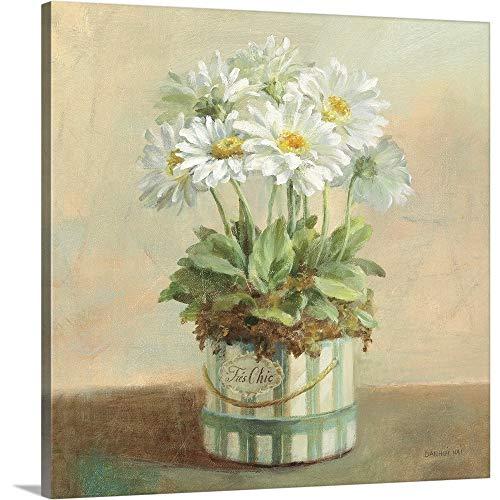 (Tres Chic Daisies Canvas Wall Art Print, 20