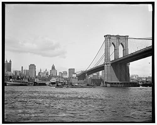 40 x 30 Ready to Hang Canvas Wrap New York Abutment of Brooklyn Bridge 1900 Detriot Publishing 69a