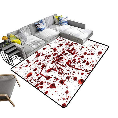 Abstract Design Area Rug Blood Grunge Style Bloodsta Horror Zombie Halloween Themed Red White Add Fashion to Room's Decor 5' X 7' -