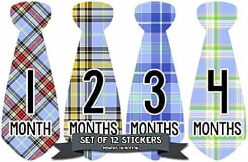 Months in Motion Monthly Baby Stickers Necktie Tie Baby Boy Months 1-12 (743)