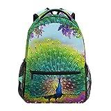 Women/Man Canvas Backpack Special Colourful Peacock Zipper College School Bookbag Daypack Travel Rucksack