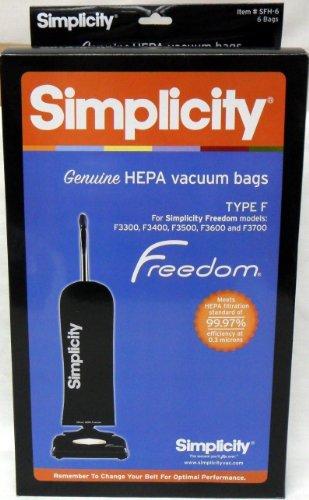 (Simplicity Type F HEPA Vacuum Cleaner Bags (6 Pack) - Genuine [Kitchen])