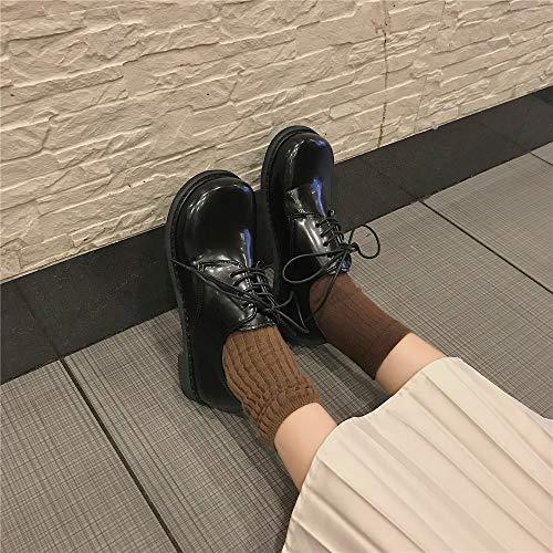 Mocasines Hembra Salvaje Cuero Pequeños Femenina Mujer Negro Primavera De Británica Zapatos Solo q0rOZw8qx