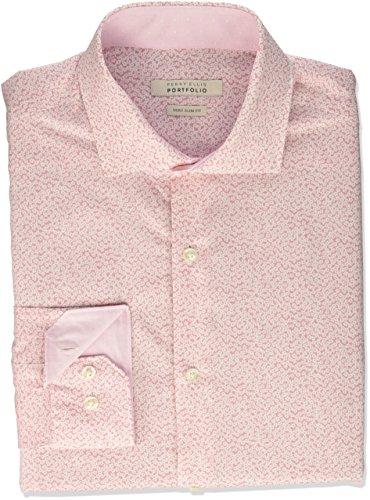 Perry Ellis Men's Very Sim Fit Performance Floral Print Dress Shirt, Rose, 16.5