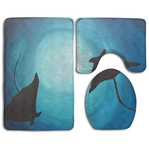 Stingray Insert - Bath Mat 3 Piece Flannel Bathroom Rug Set,Stingray Paintings Design Shower Mat and Toilet Cover, Non Slip and Extra Soft Toilet Kit, Anti Slippery Rug New11