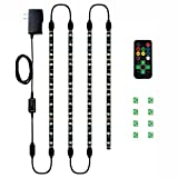 led accent lighting kit - HitLights Eclipse LED Light Strip Accent Kit, 4 x Pre-Cut 12 Inch RGB Strips - Includes Remote, Power Supply, and Connectors for Under Cabinet Lights,Kitchen, TV Lights etc
