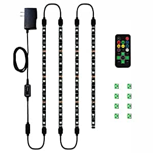 HitLights Eclipse LED Light Strip Accent Kit, 4 x Pre-Cut 12 Inch RGB Strips - Includes Remote, Power Supply, and Connectors