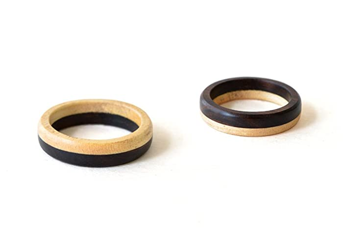 Amazon Com Wooden Bands Set Wooden Wedding Ring Natural Wedding