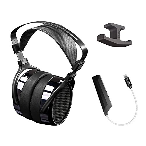 HIFIMAN HE-400I Over Ear Planar Magnetic Wired Headphones - INCLUDES - Blucoil AQUA Portable Battery-Free, In-Line Headphone DAC and Amplifier - iPhone Lightning Adapter, Black AND Dual Headphone Hook by blucoil
