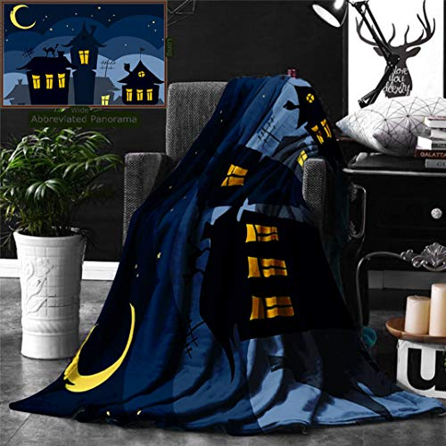Ralahome Unique Custom Digital Print Flannel Blankets Halloween Old Town Cat On The Roof Night Sky Moon Stars Houses Cartoon Art Bl Super Soft Blanketry Bed Couch, Twin Size 80 x 60 Inches]()