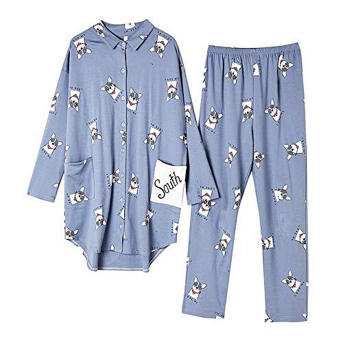 Conjunto Manga nbsp;mujeres Suelta Color Larga Pijamas Photo Otoño A Servicio Mmllse Domicilio De Algodón IUYUB