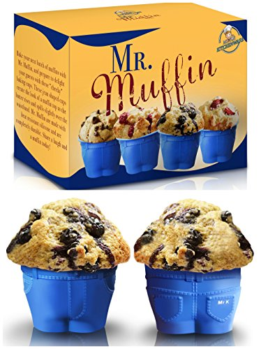 "Set of 6 Mr Muffin Muffin Top Bake Cups with FREE EBook ""Gourmet Cupcakes""! Delight Your Family & Friends with these Cheeky Baking Molds! The Perfect Christmas Gift for all ages!"