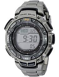 Casio Mens PAG240T-7CR Pathfinder Triple-Sensor Stainless Steel Watch with Titanium Bracelet
