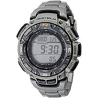 Casio Reloj de hombre PAG240T-7CR Pathfinder de acero inoxidable con triple sensor y pulsera de titanio