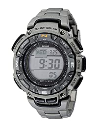 Casio Men's PAG240T-7CR Pathfinder Triple-Sensor Stainless Steel Digital Watch with Titanium Bracelet