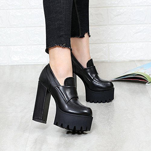 Heel Thirty Of Korean Deep seven Heeled Shoes Show New Super Foot Thin Female KHSKX Single Mouth Thick Thick Shoes Version Waterproof Table High Bottom ABXwdxEd