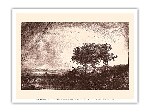 (The Three Trees - From an Original Etching and Drypoint by Rembrandt Harmenszoon van Rijn c.1643 - Master Art Print - 9in x 12in)