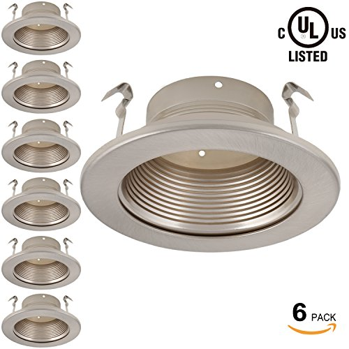 6 Pack 4 Inch Recessed Can Light Trim with Satin Nickel Metal Step Baffle, for 4 inch Recessed Can, Fit Halo/Juno Remodel Recessed Housing, Line Voltage Available