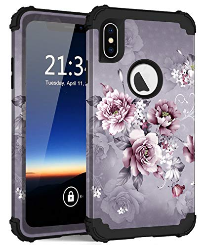 iPhone XS Max Case, Hocase Shockproof Heavy Duty Protection Hard Plastic Cover+Silicone Rubber Case Hybrid Dual Layer Protective Phone Case for iPhone XS Max 2018 - Light Purple Flowers