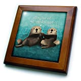 3dRose Noonday Design - Animals - Two sea otters holding hands in the ocean - 8x8 Framed Tile (ft_281739_1)