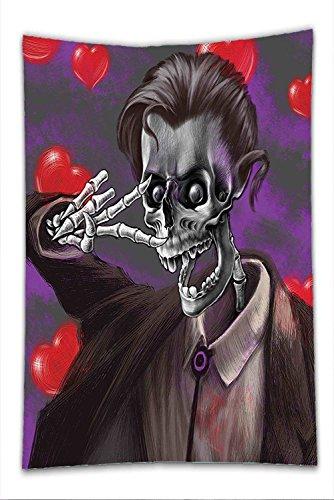 Tuxedo Mask Costume Sale (Nalahome Fleece Throw Blanket Skull Decor Romantic Skeleton Handsome Corpse Groom with Tuxedo Hearts in the Backdrop Black and Red)