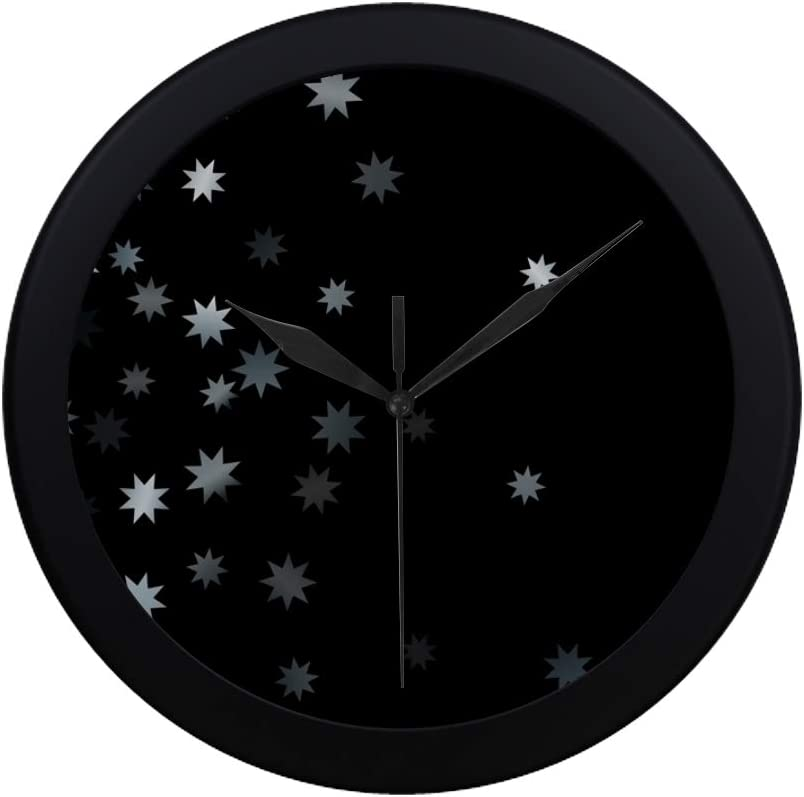 Amazon Com Dkgfnk Modern Simple Abstract Silver Star Confetti Falling Starry Wall Clock Indoor Non Ticking Silent Quartz Quiet Sweep Movement Wall Clcok For Office Bathroom Livingroom Decorative 9 65 Inch Home Kitchen