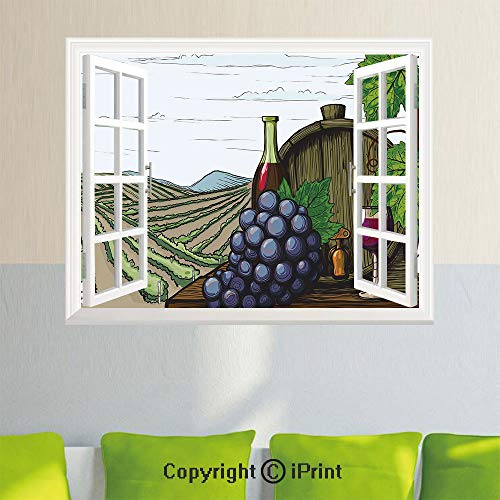 Removable Wall Sticker Creative Window View,Landscape with Views of Vineyards Grapes Leaves Drink Barrel Agriculture Field Farm Decorative,35.4X 23.6inch,for Livingroom BedroomMulticolor