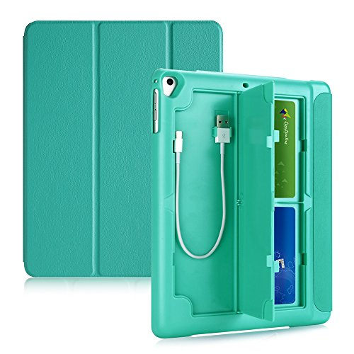 TKOOFN iPad 5th/6th/iPad Air/Air 2,Multifunctional Protective Smart Cover with Card Box and USB Cables Storage,Mint Green