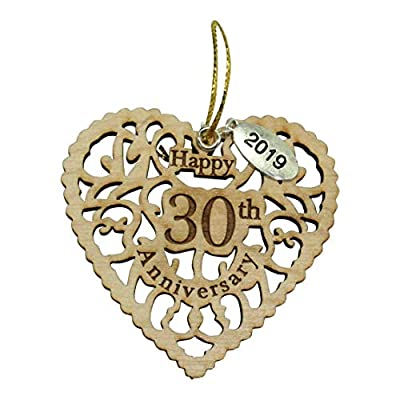 Twisted Anchor Trading Co 30th Anniversary Ornament 2019 - Heart Shaped Happy Anniversary Ornament - Beautiful Laser Cut Wood Detail - Comes in a Pretty Organza Gift Bag so it's Ready to give