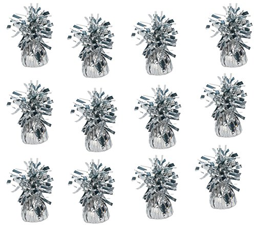 Playo Metallic Balloon Weights - Pack of 12 (Silver) -
