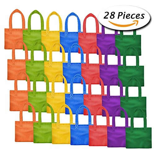 Color A Tote Bag (Paxcoo 28 Packs 7 Colors Party Favor Tote Gift Bags Non-woven Goodie Treat Bags with Handles for Kids Birthday, 6 x 6 Inch)