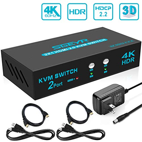 SGEYR HDMI KVM HDR KVM Selector Switch HDMI 2 Port KVM HDMI Selector Switch with 2 Pcs Cables Supports 3840x2160@60Hz 4:4:4/USB HUB 2.0 Device Control up to 2 Computers/Servers/DVR(2 in 1 Out