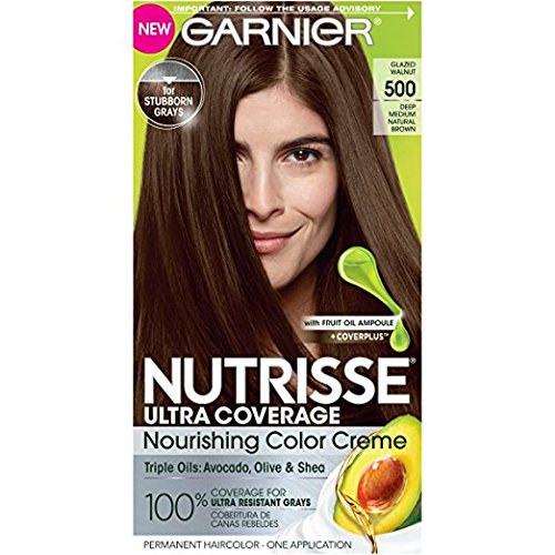 Garnier Nutrisse Ultra Coverage Nourishing Hair Color Creme, #500 Glazed Walnut (Pack of 2)