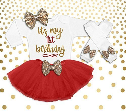 cfc2d1827b Image Unavailable. Image not available for. Color  Baby Girl 1st Birthday  Outfit ...