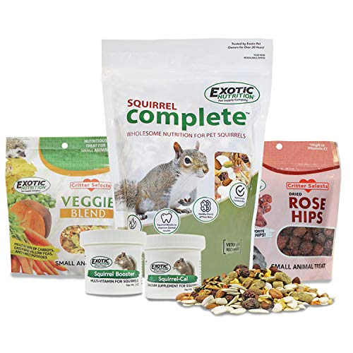Squirrel Food Starter Package - Includes Nutritionally Complete Diet, Natural Treats & Healthy Vitamin Supplements - for Grey Squirrels, Ground Squirrel, Chipmunks, Flying Squirrels