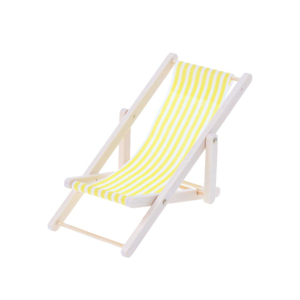 Fuwahahah Escala 1:12 silla de playa para tomar el sol casa de muñecas miniatura juguete muñeca accesorios azul