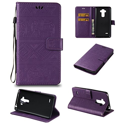 LG G Stylo Case,LG Stylo Case-Wallet Flip Stand Case Embossed Totem Elephants PU Leather Case Shockproof TPU Inner Bumper Slim Protective Card Slots Cover for LG G Stylo LS770