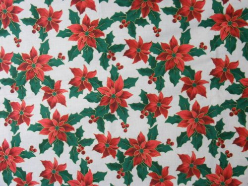 """Cheater Quilt Top Material By The Yard,X58,""""Poinsettas for sale  Delivered anywhere in USA"""
