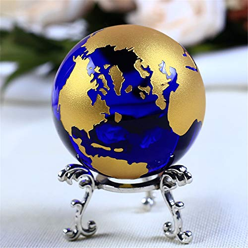 60mm Blue Colored Earth Crystal Model Ball Glass Globe with a Base Crafts Paperweight for House Ornaments Gifts Home Decor (Goldenyinjia)