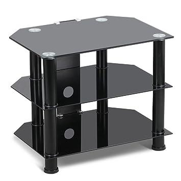 Tinkertonk 3 Tier Glass Corner Tv Stand Small Spaces Amazon Co Uk