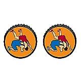 GiftJewelryShop Bronze Retro Style Olympics Wrestling posture Photo Stud Earrings 10mm Diameter